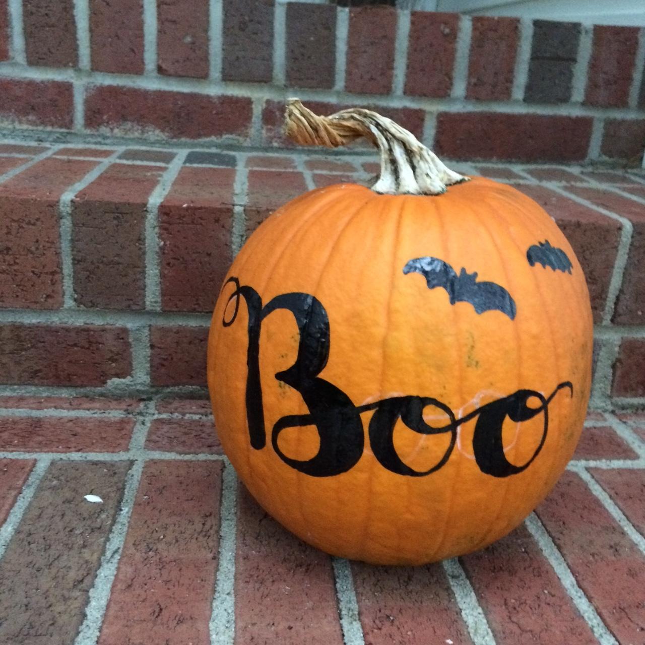 Hand Lettered BOO Pumpkin