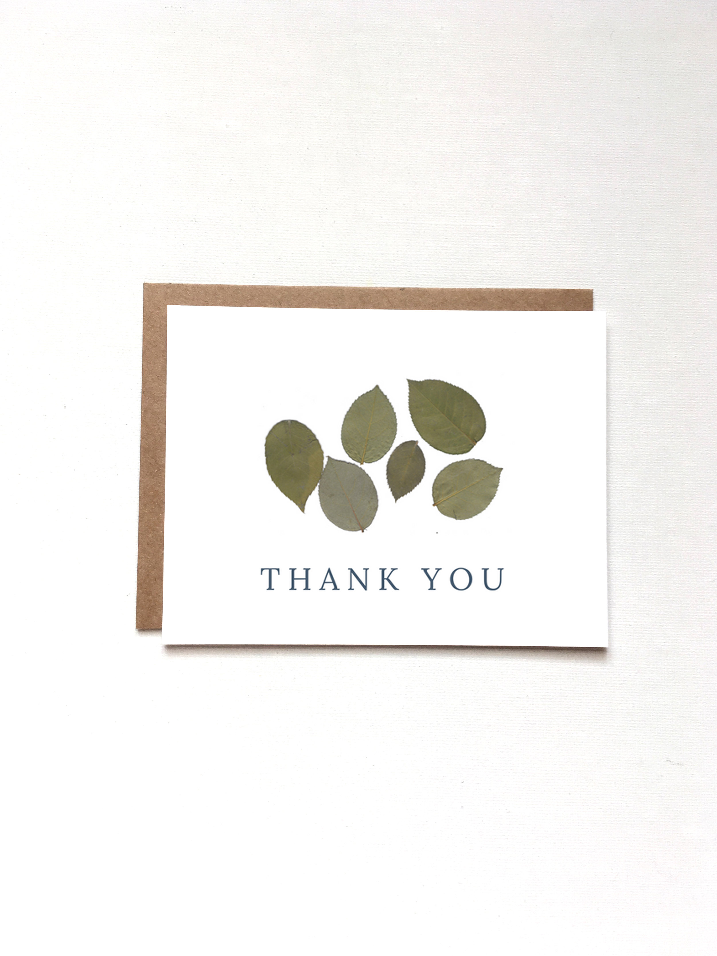 Thank You Leaf Card by Raleigh Calligraphy