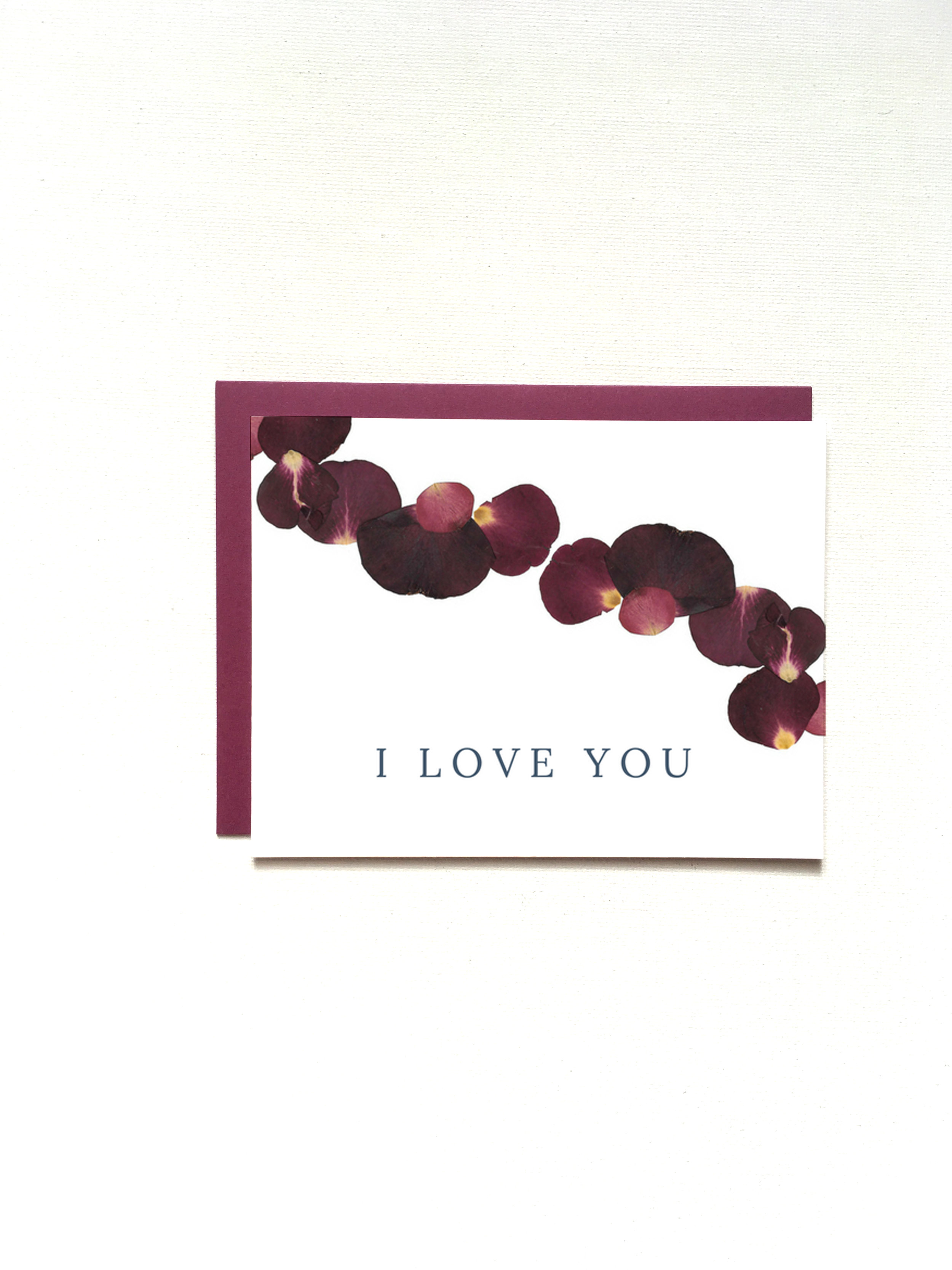 I Love You Pressed Petal Card by Raleigh Calligraphy