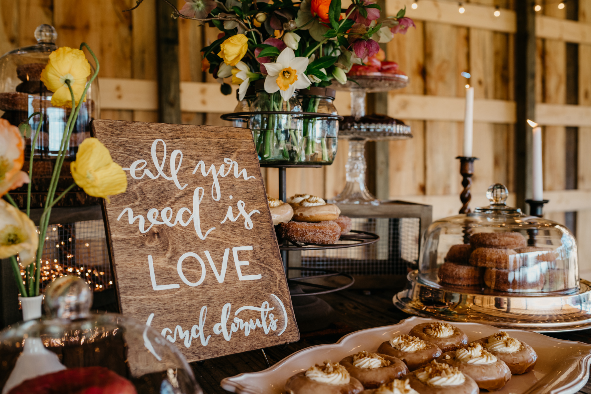 Treat Signs - These donut signs are super popular. In fact, last year we sold more of these than any other wooden sign design. And we can see why. If you're serving up sweets on a buffet or as your event favor, a wooden sign like this one will make the display even sweeter. After the wedding, just hang your donut sign on your kitchen wall. Your wedding may be over, but that doesn't make this sign any less true!