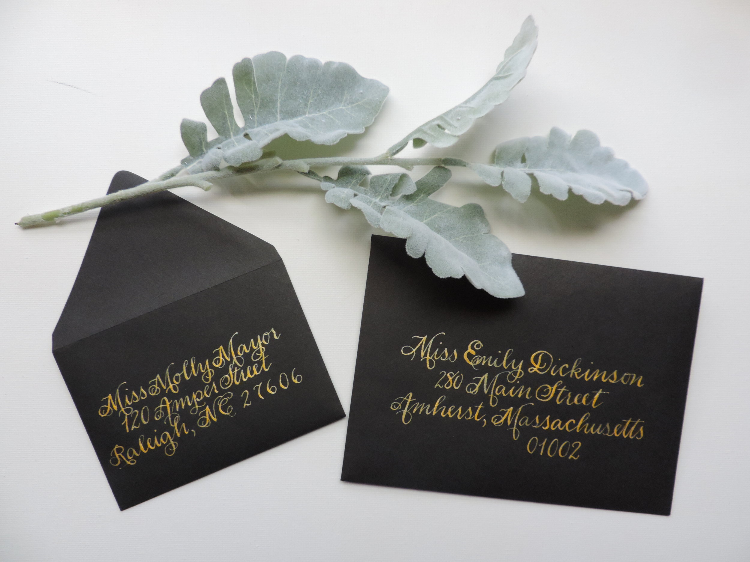 Copperplate Script in Gold Ink by Raleigh Calligraphy & Design
