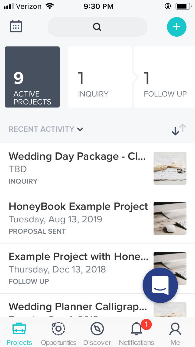 HoneyBook App - View payments, send files and receive real-time notifications from clients.