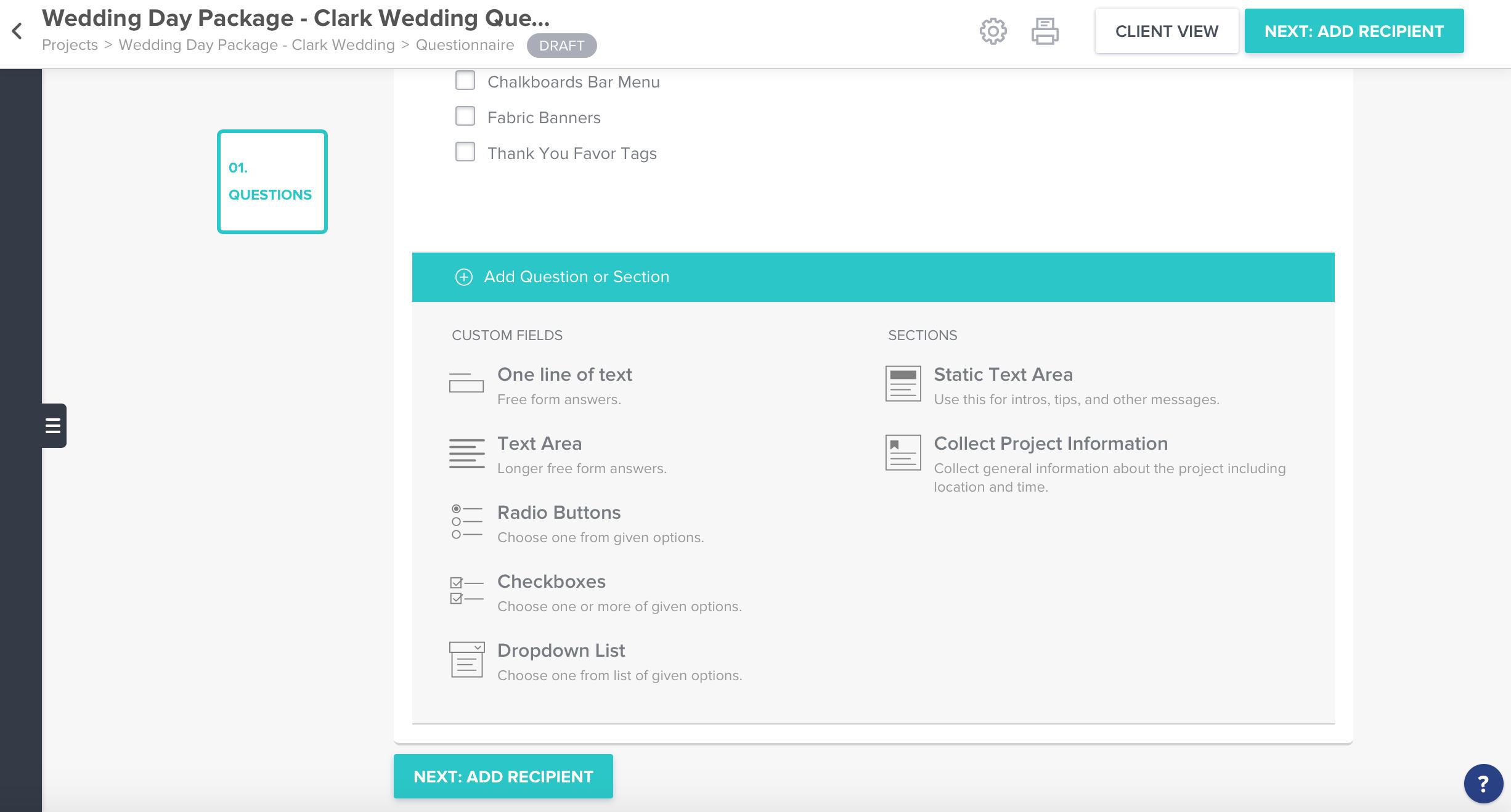 Client Questionnaires -