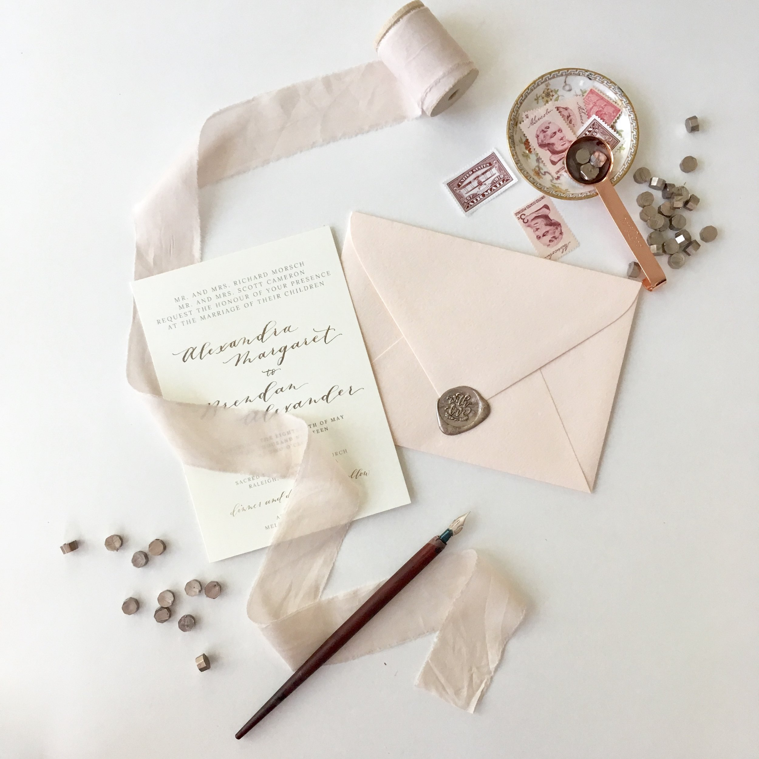 Pictured: Champagne Gold Wax Beads by Uniqooo, Rose Gold Melting Spoon by Uniqooo, and With Love Wax Seal Stamp by Uniqooo