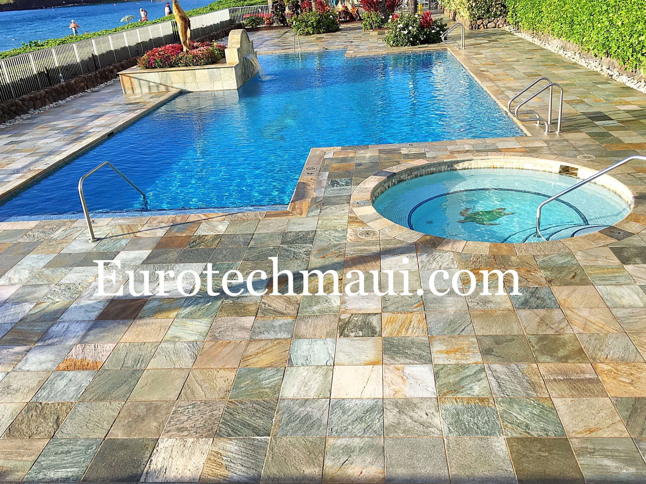 Quartzite pool deck enhancement Lahaina, Maui