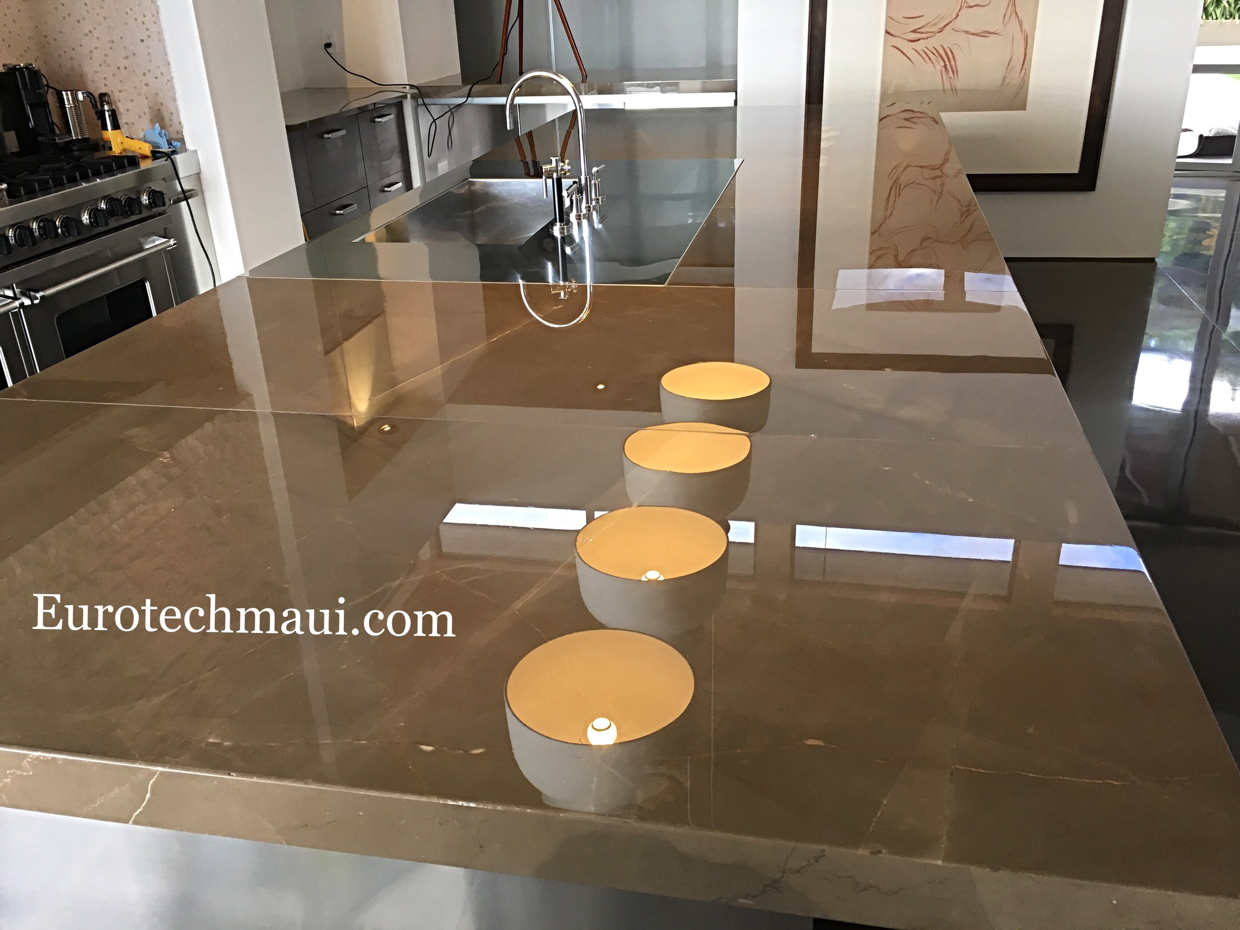 Limestone counter high polish in Kula, maui