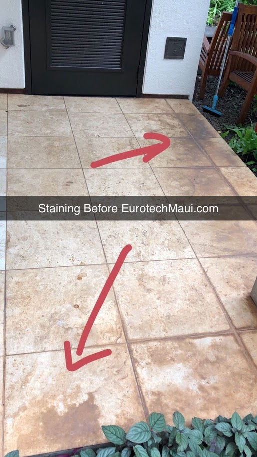 stained travertine before eurotech maui