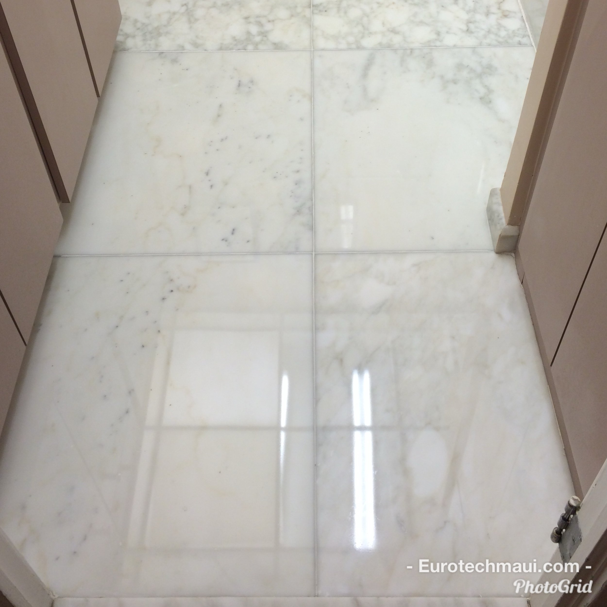 White carrera Marble Floor restoration to high polish