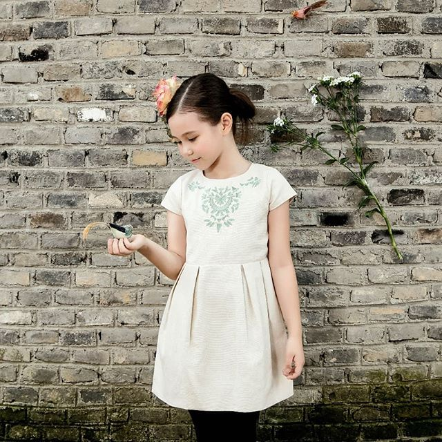 All our dresses are designed in Barcelona. Go to our Etsy store for the full collection!  #clothing #children #dress #beige #victorian #sleeveless #crew #apron #etsy
