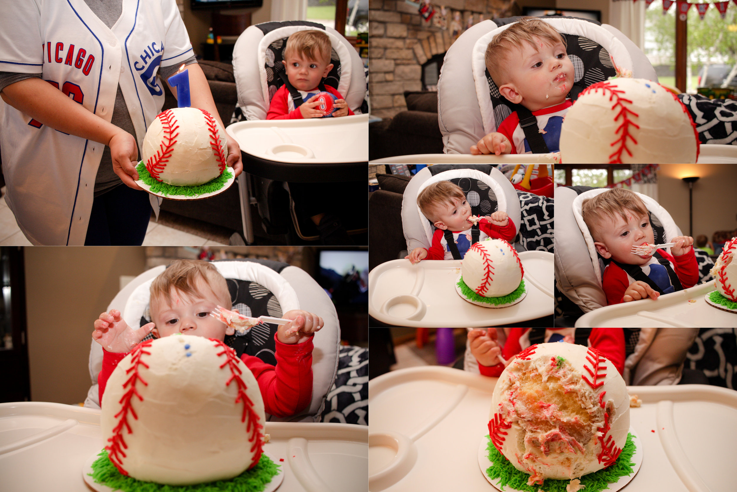 And that cake! I was pretty obsessed with it.  Theo wasn't interested in diving into it with just his hands, but once he had access to a fork, he was able to dig a chunk out of it. He enjoyed that frosting!