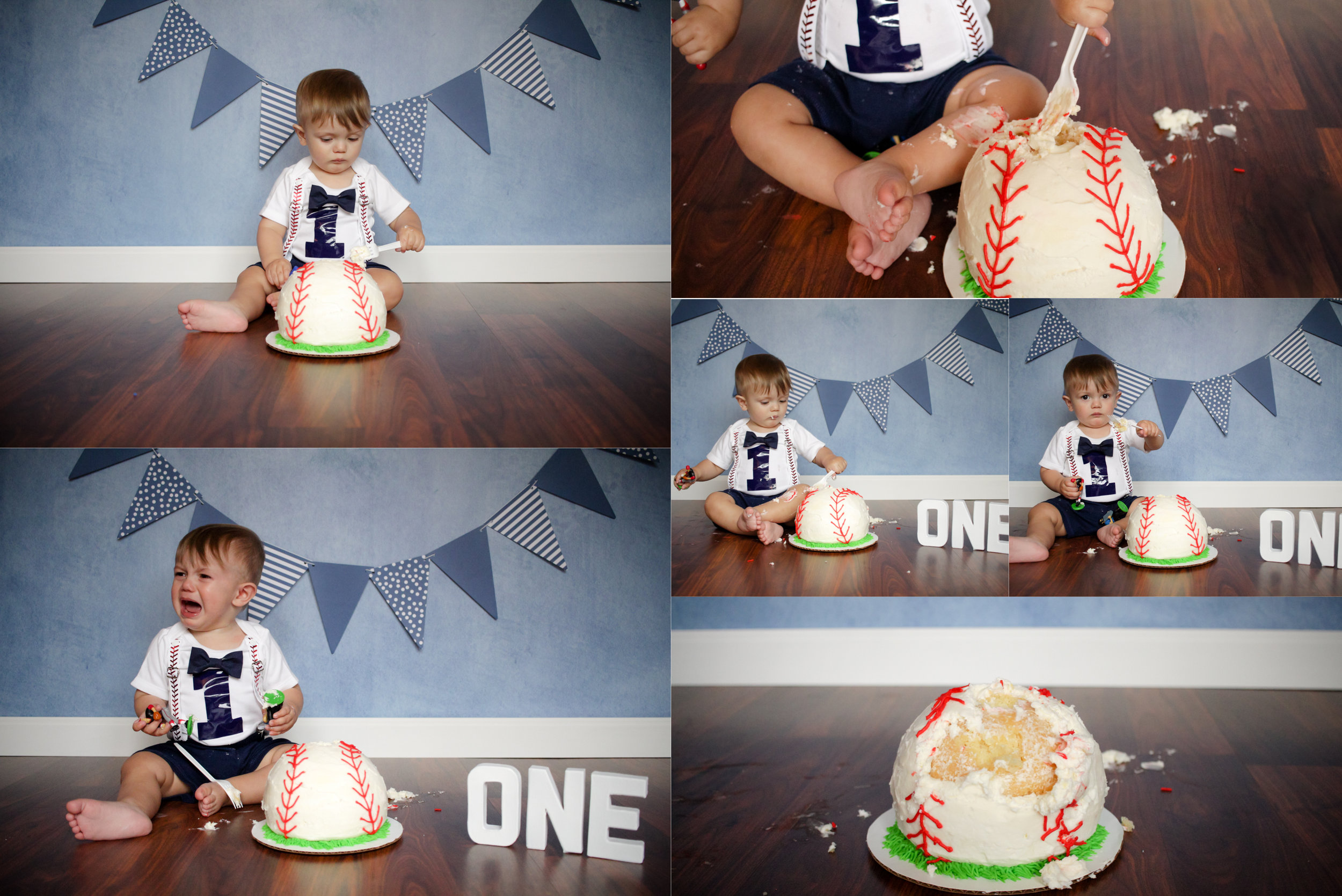 Theo wasn't overly excited about diving into his cake but with a little help of a fork and some baseball toys we were able to get a few bites out of it.