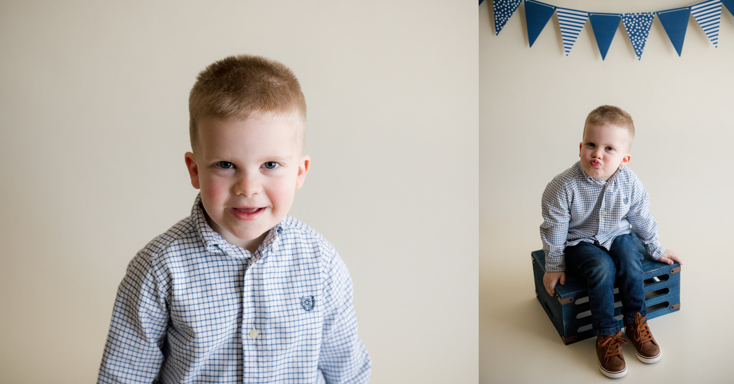 Three year old boy sitting during photo session in Cedar Rapids, Iowa.