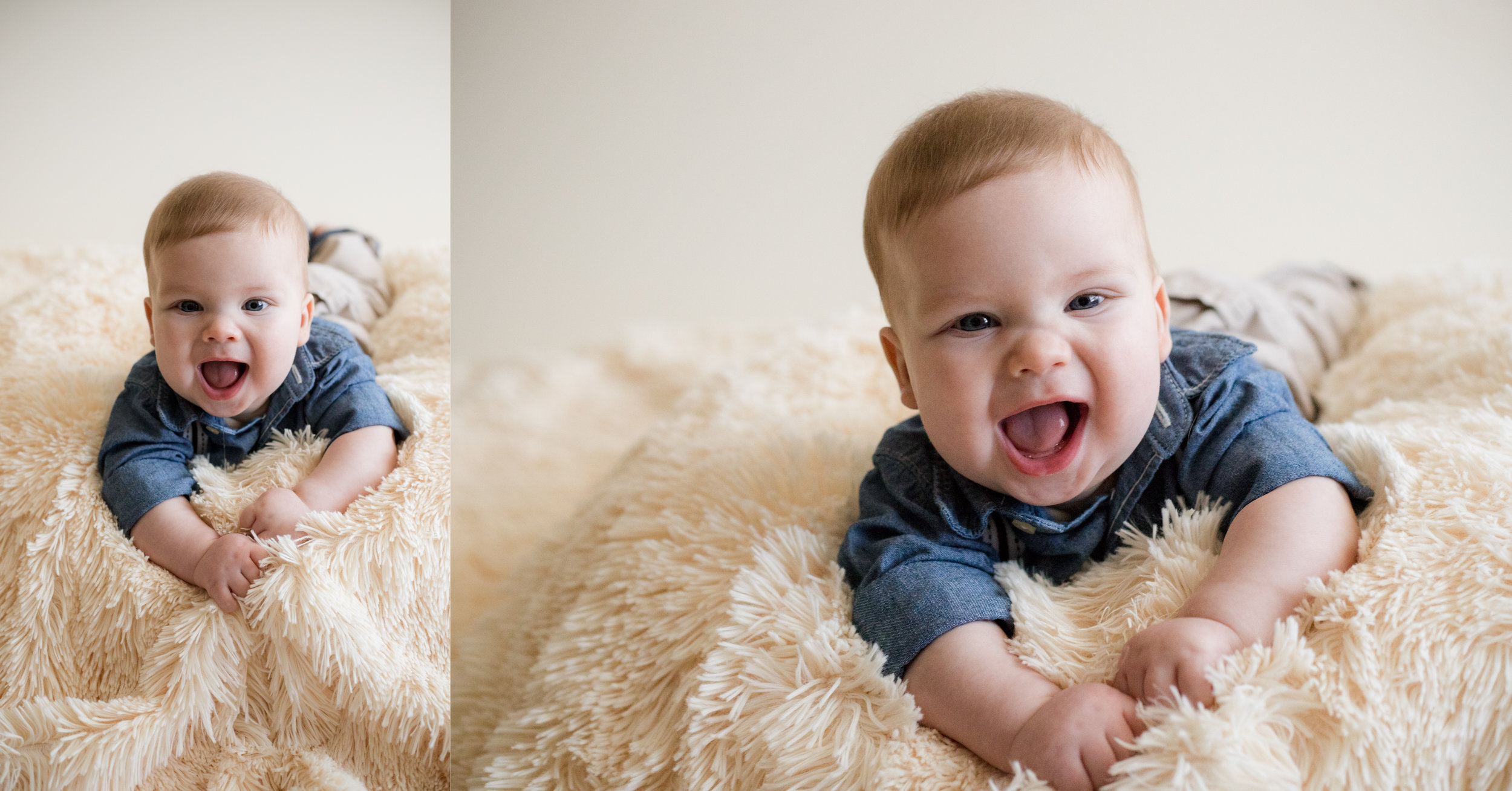 Four month old baby boy laying on stomach and smiling during indoor photo session in Iowa.
