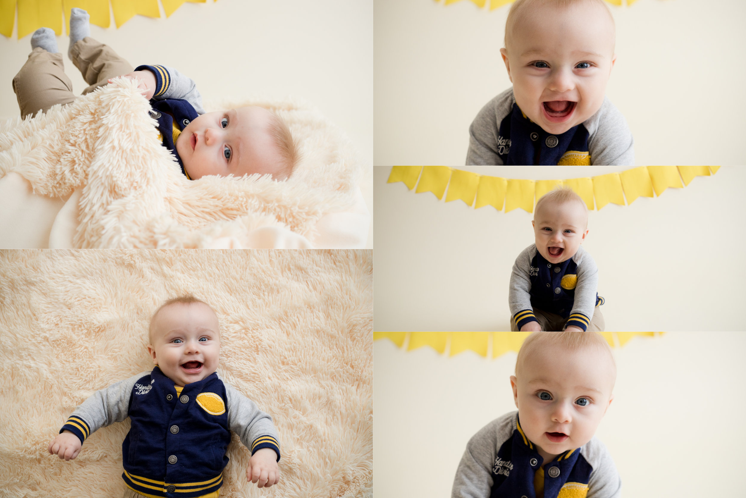 Baby boy 6 months old indoors at Laura Anne Photography, LLC.