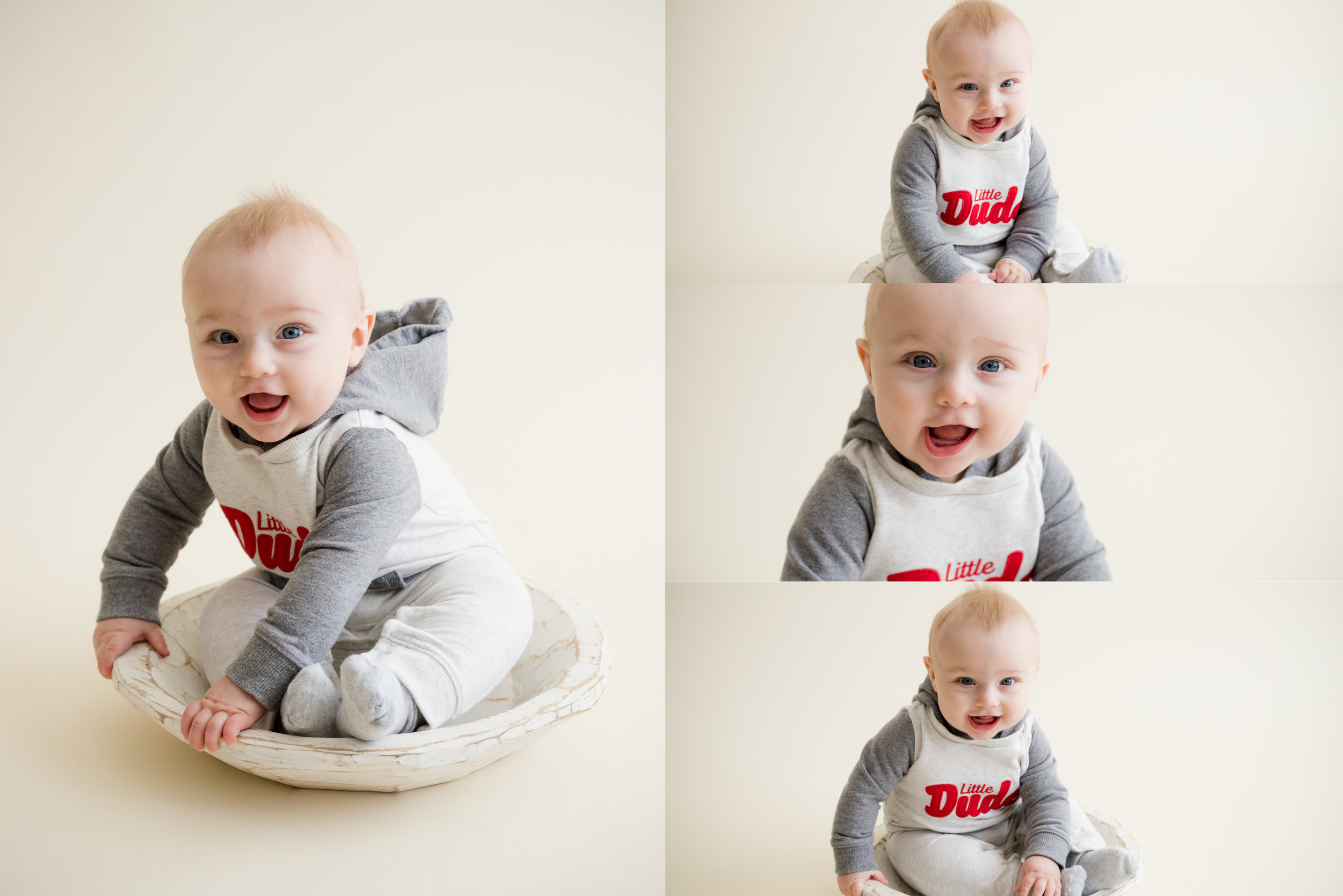 Baby boy sitting up on own during a photo session in Cedar Rapids, Iowa.