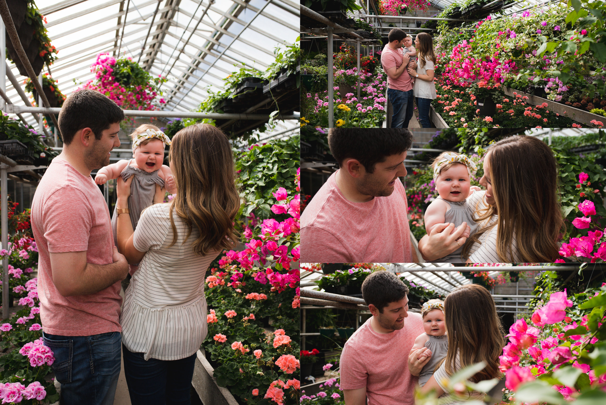 baby girl and parents in Pierson's greenhouse in Cedar Rapids, Iowa