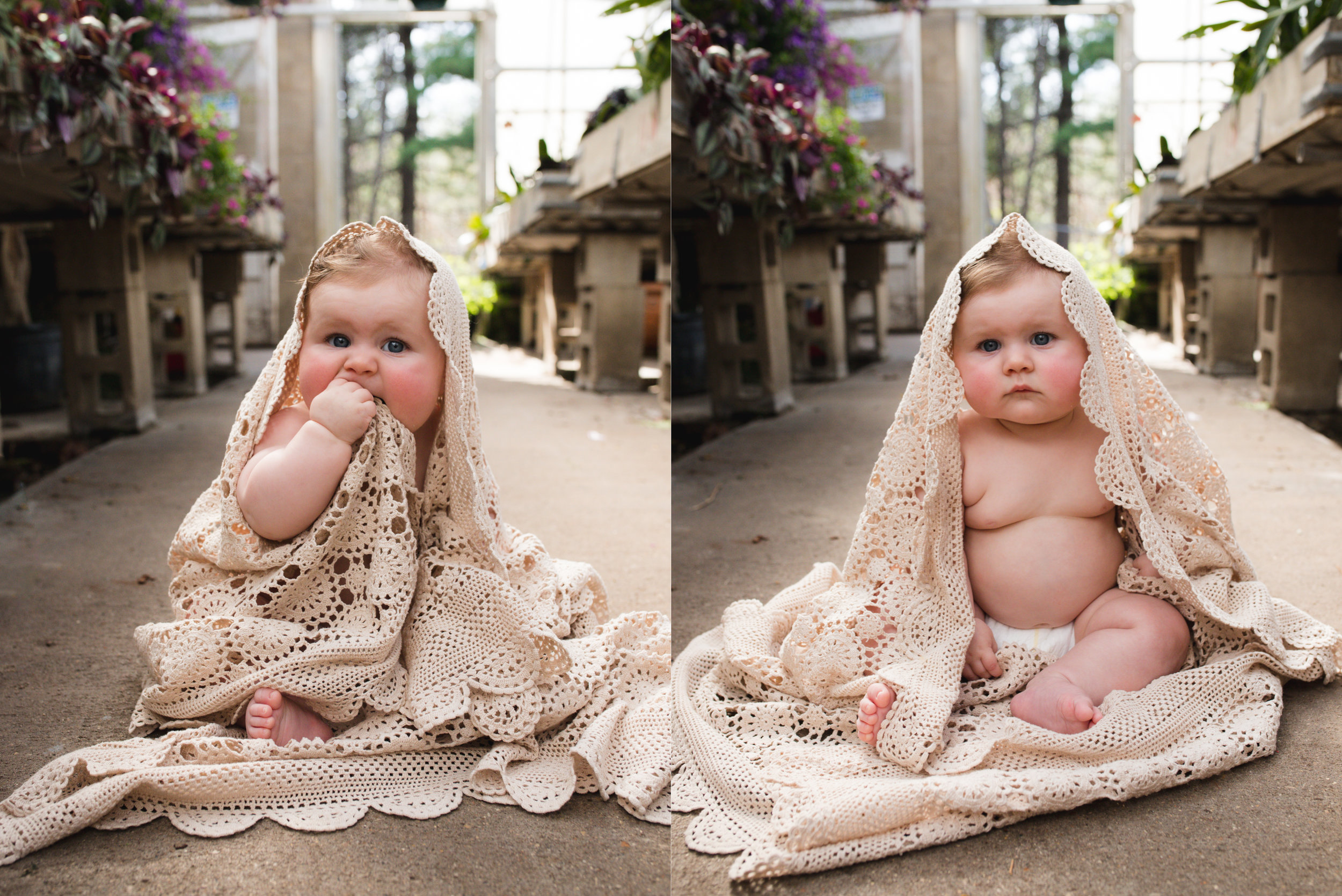 Baby girl sitting up with doily blanket around her in Cedar Rapids, Iowa.