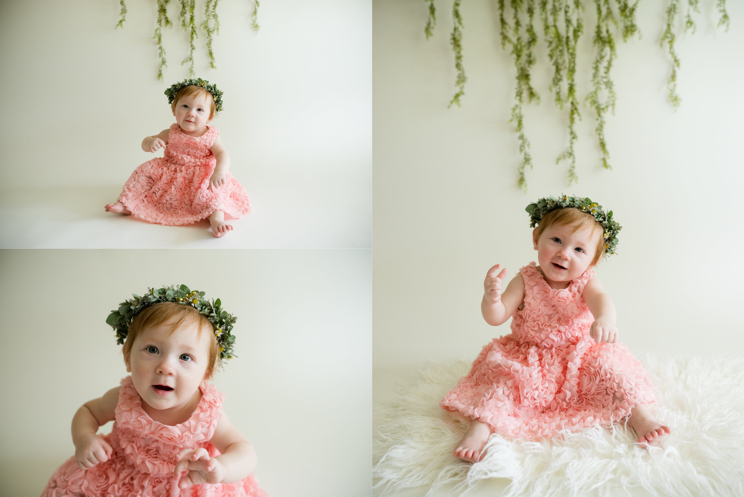 Baby girl during one year photo session in Cedar Rapids, Iowa.