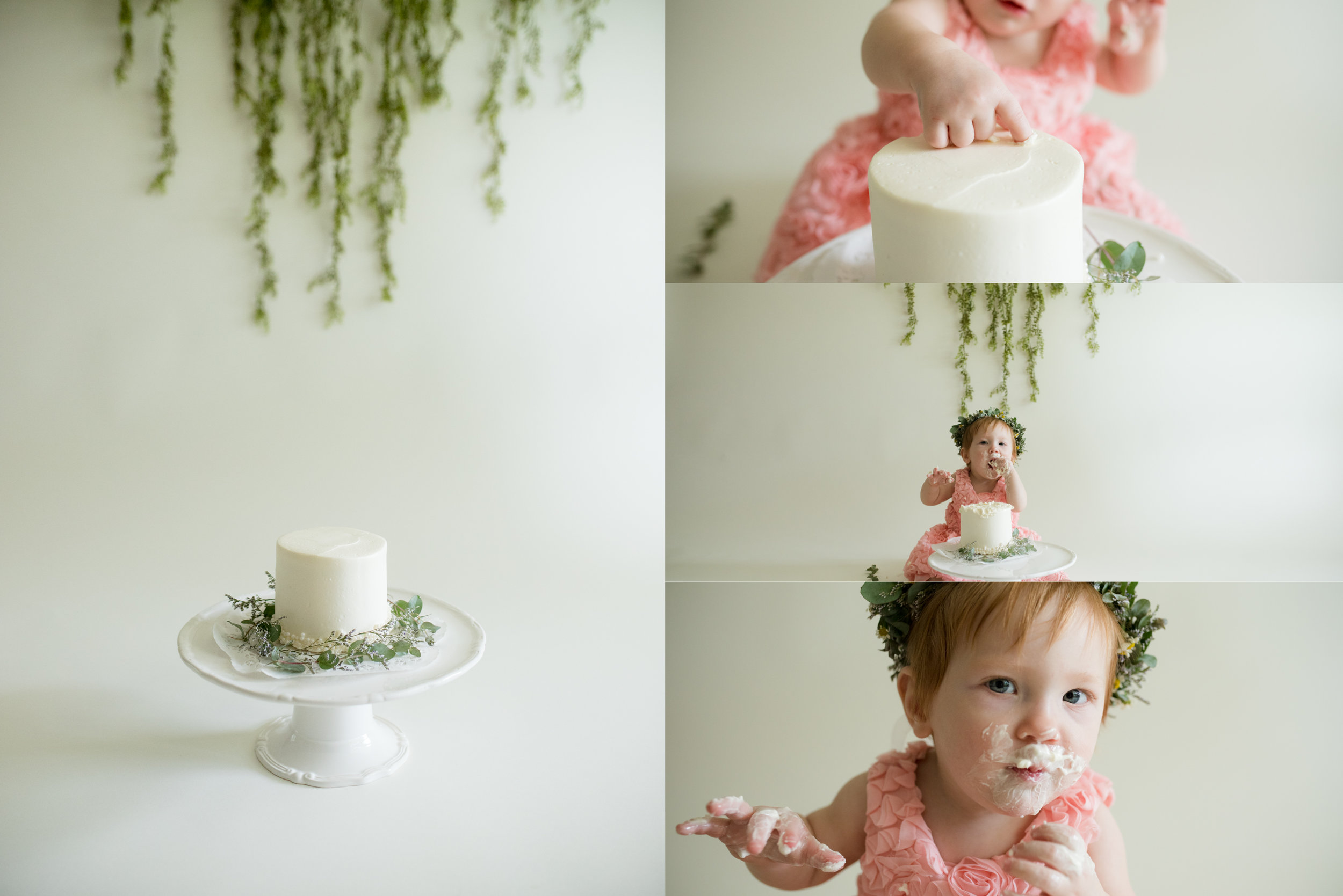 Off-white cake smash photo session for baby girl in Iowa.
