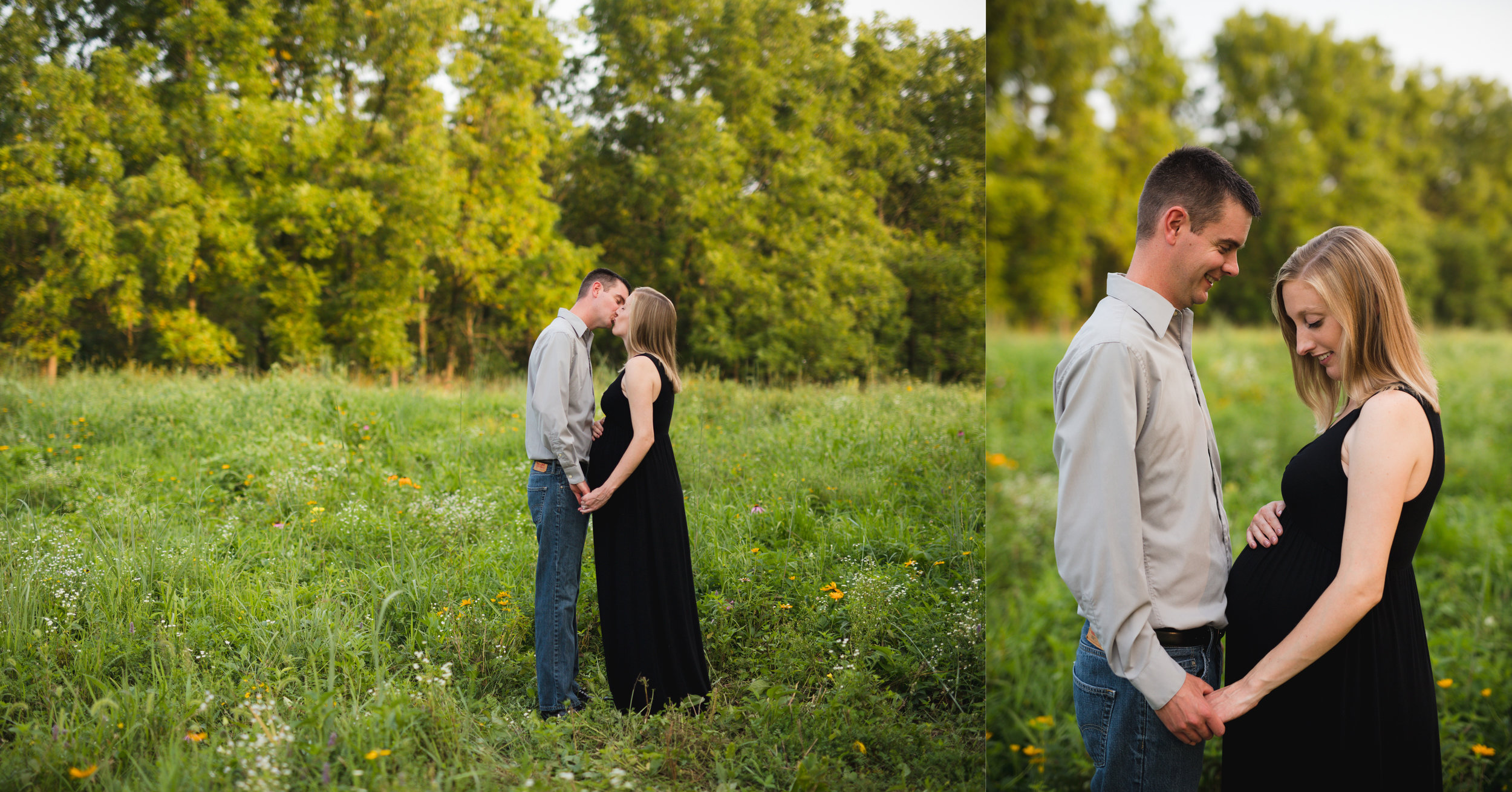 Couple standing and kissing during a maternity photoshoot in Cedar Rapids, Iowa.