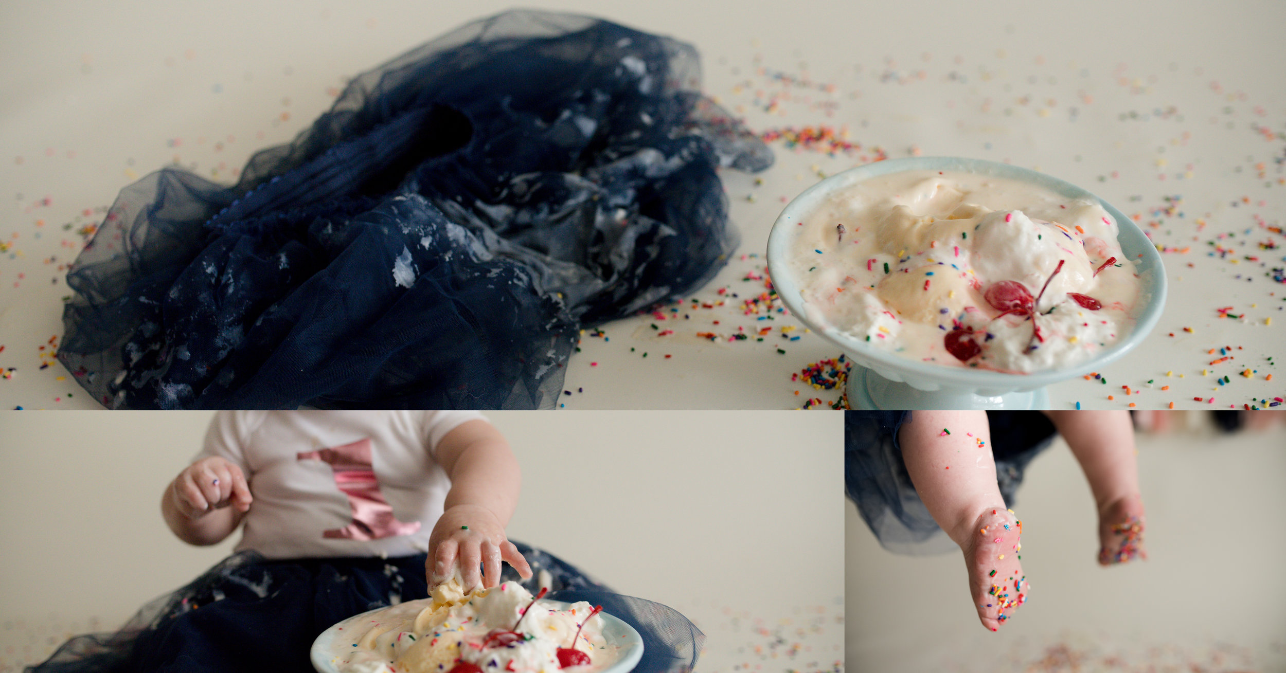 Detail photos of a one year old baby girl during a sundae smash photo session in Cedar Rapids, Iowa.