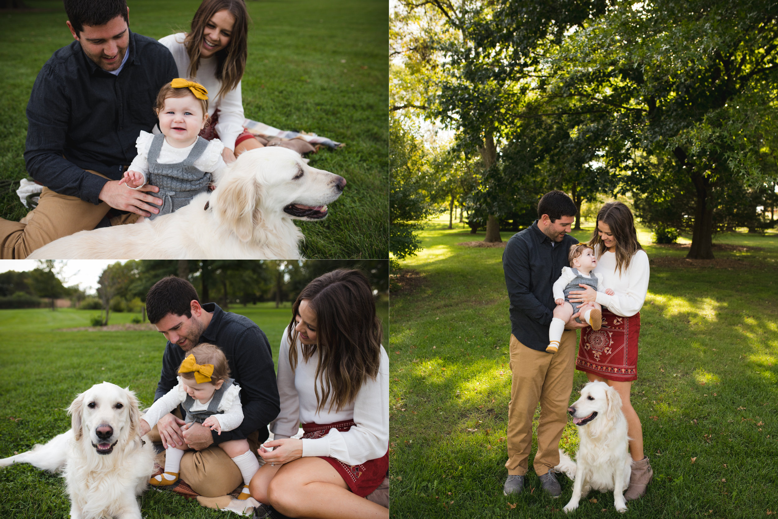 Family of three with a golden retriever dog sitting and standing outside at Morgan Creek Arboretum during a photo session.