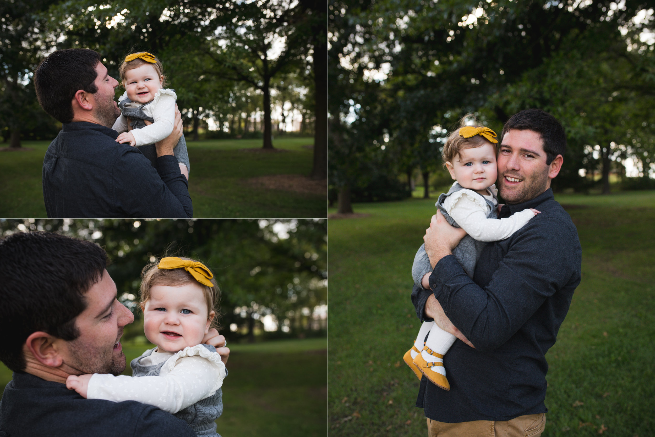 Father holding his one year old baby girl during a children photo session in Cedar Rapids, Iowa.