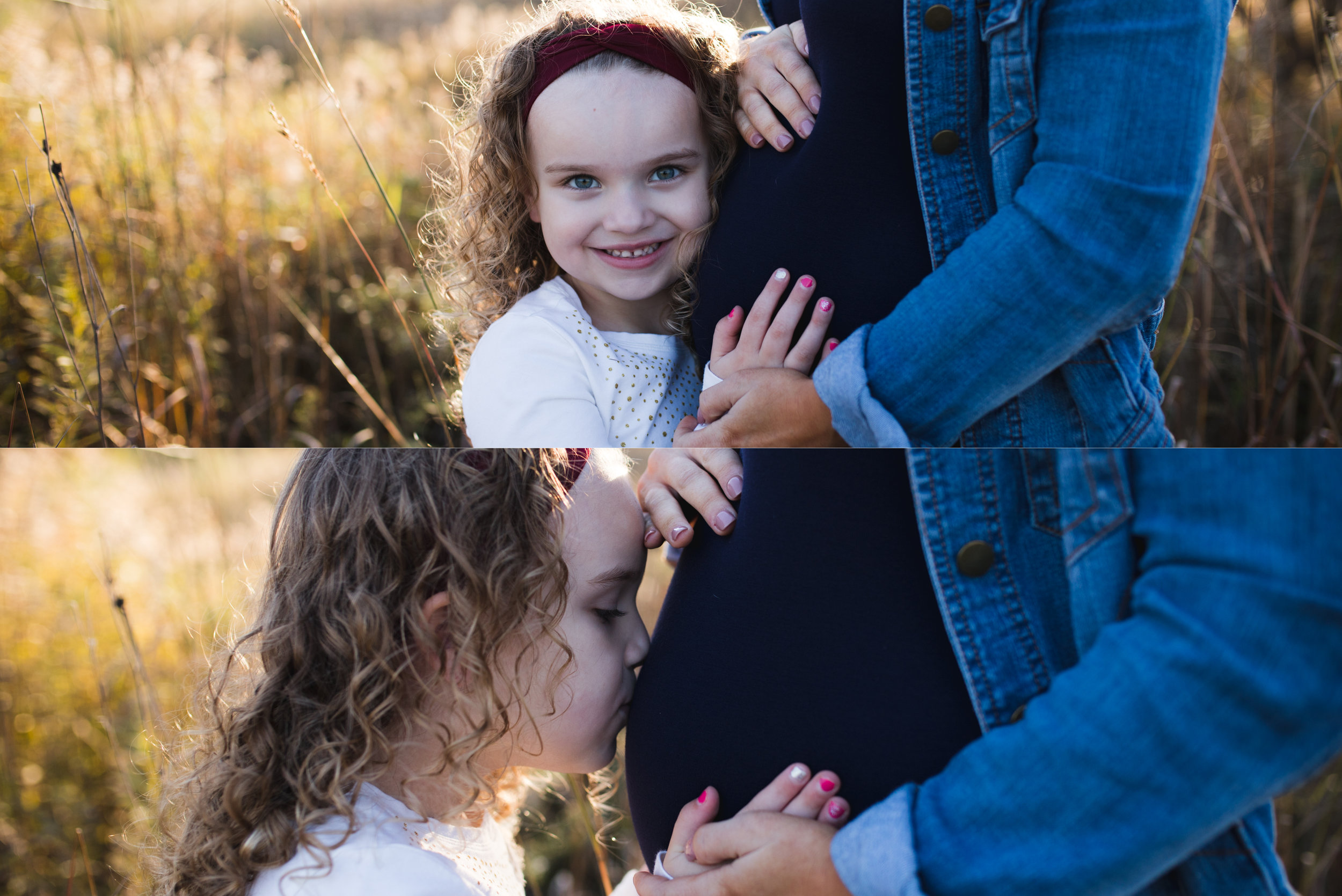 A young girl kissing mother's pregnant belly during a maternity photo session in Marion, Iowa.
