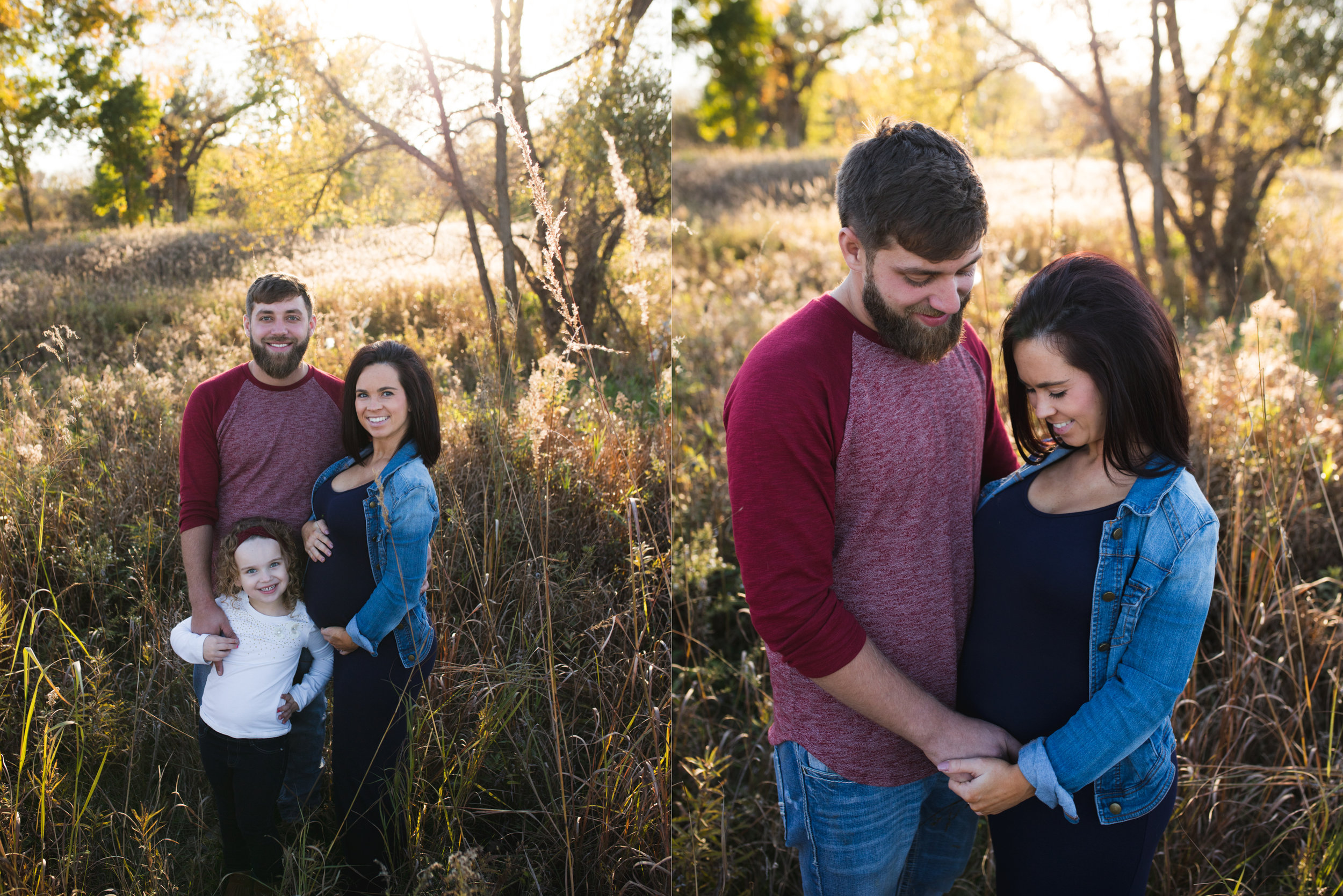 A family of three and a couple standing in a park during a maternity photo session at Squaw Creek Park in Marion, Iowa.