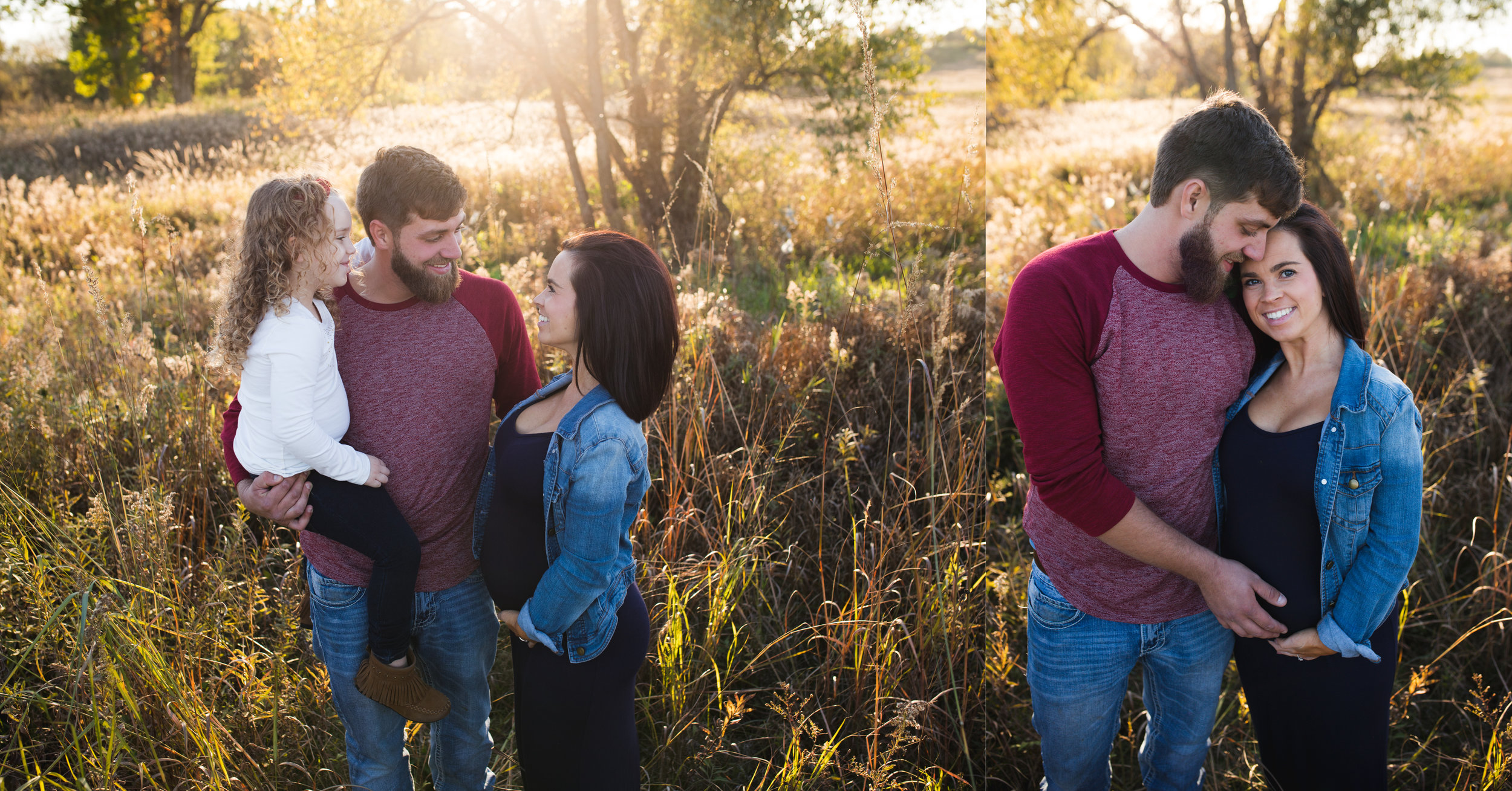 A family of three and a couple standing in prairie grass at Squaw Creek Park in Marion, IA during a maternity photo session.