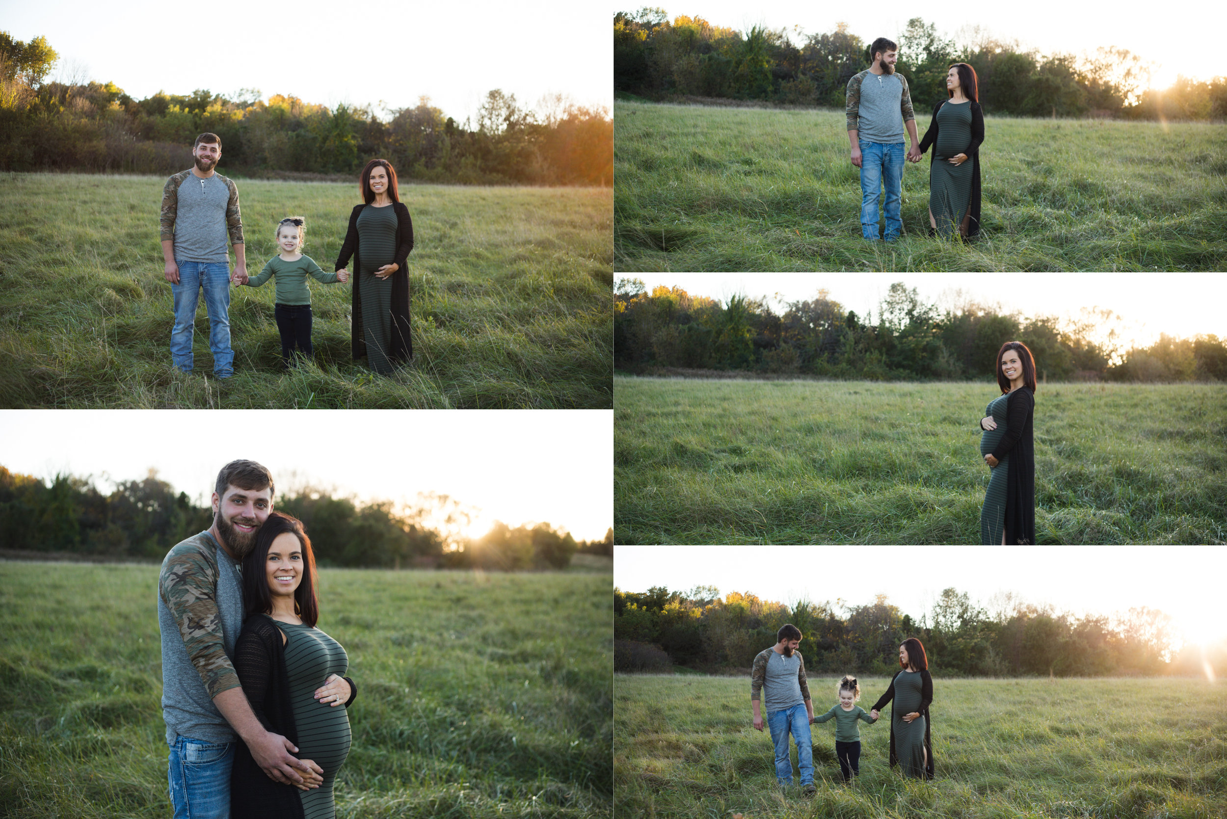 A family of three holding hands and walking during a maternity photo session in Cedar Rapids, Iowa.