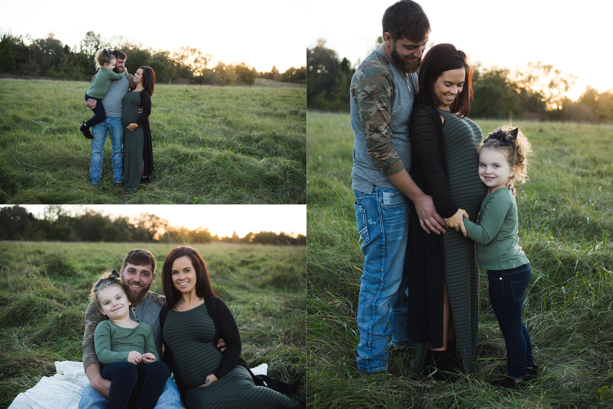 A family of three who are 32 weeks pregnant sitting and standing in a field at a park during a maternity photo session in Cedar Rapids, Iowa.