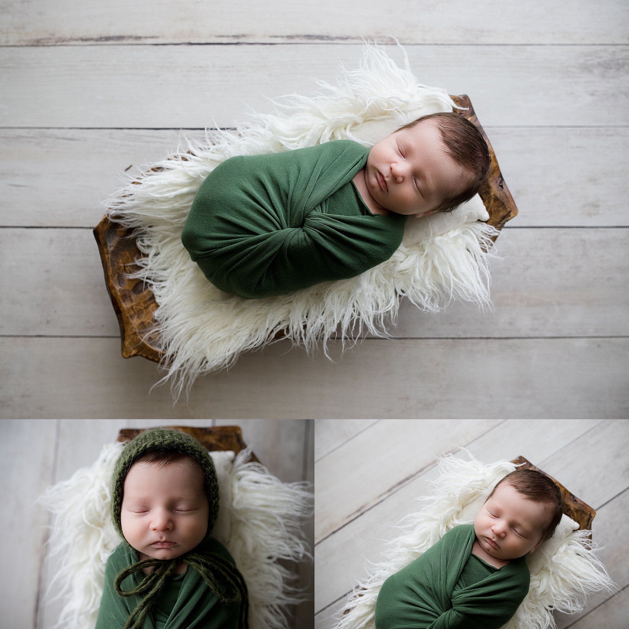 Newborn baby boy wrapped in green and sleeping during a newborn photo session in Cedar Rapids, Iowa with Laura Anne Photography.