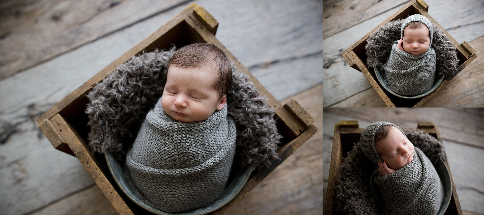 Newborn baby boy sleeping and wrapped in gray during a newborn photo session with Laura Anne Photography in Cedar Rapids, Iowa.