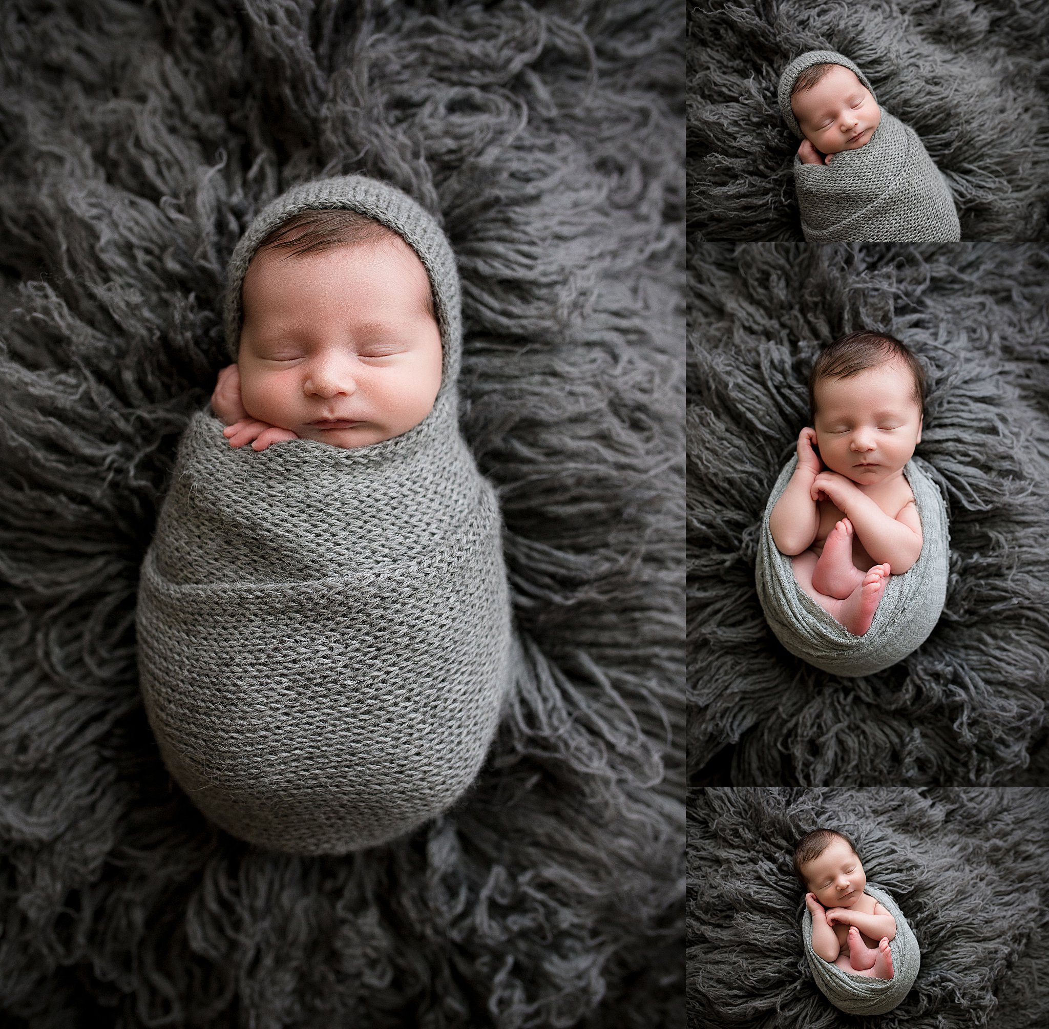 Newborn baby boy wrapped in gray and sleeping during a photo session in Cedar Rapids, Iowa.