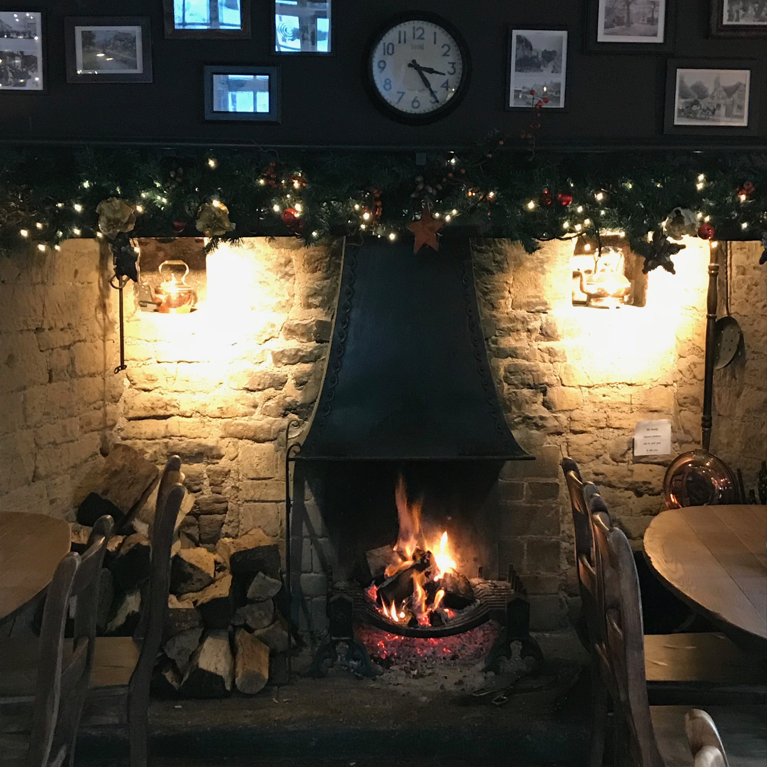 The open fire roaring at The Ebrington Arms