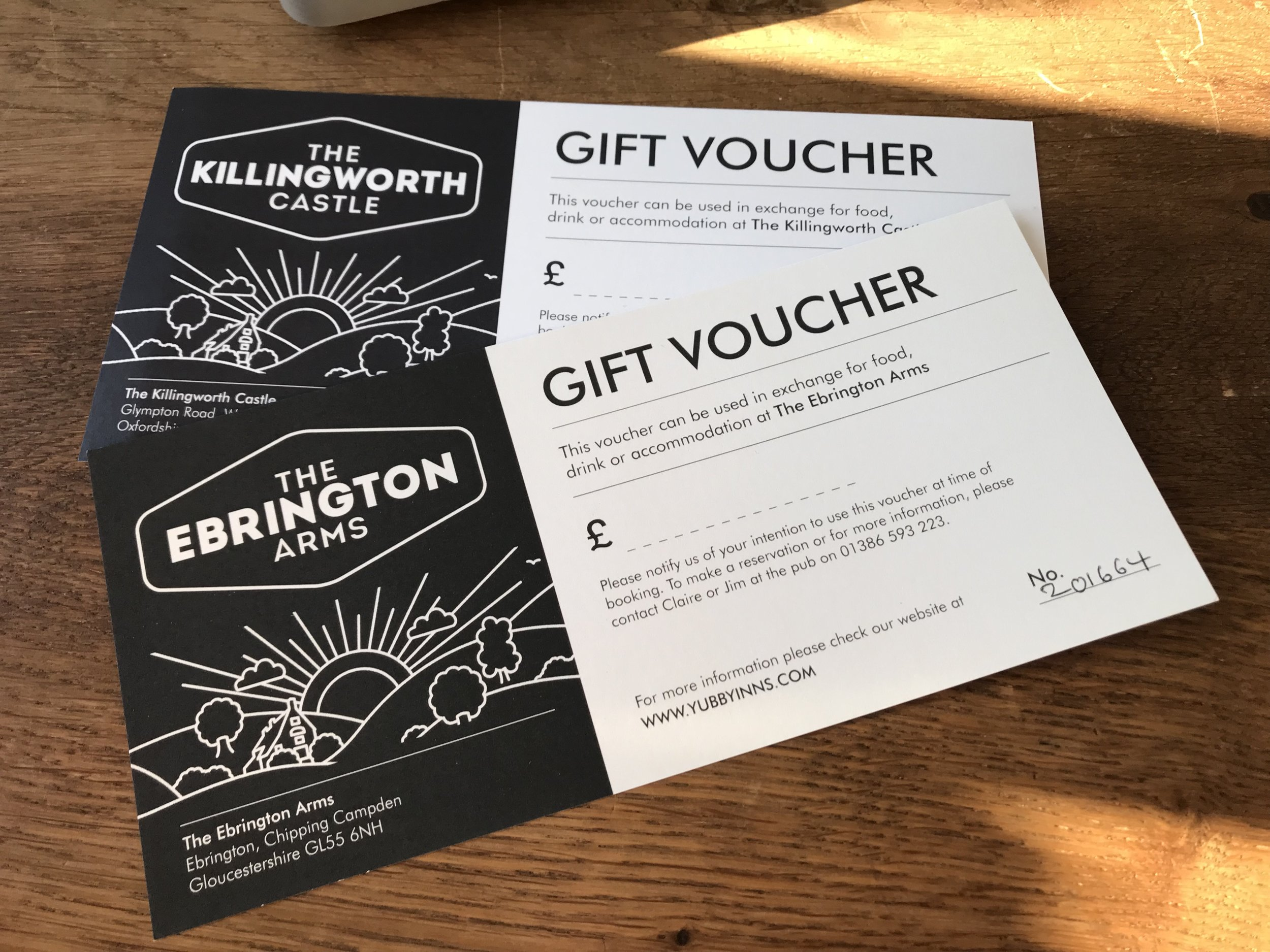 pURCHASE A VOUCHER - Tel: 01386 593 223Email: reservations@yubbyinns.com