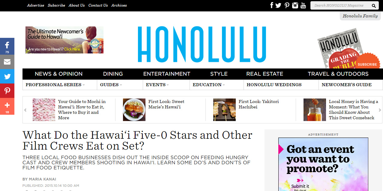 Honolulu Magazine - What Do the Hawai'i Five-0 Stars and Other Film Crews Eat on Set?