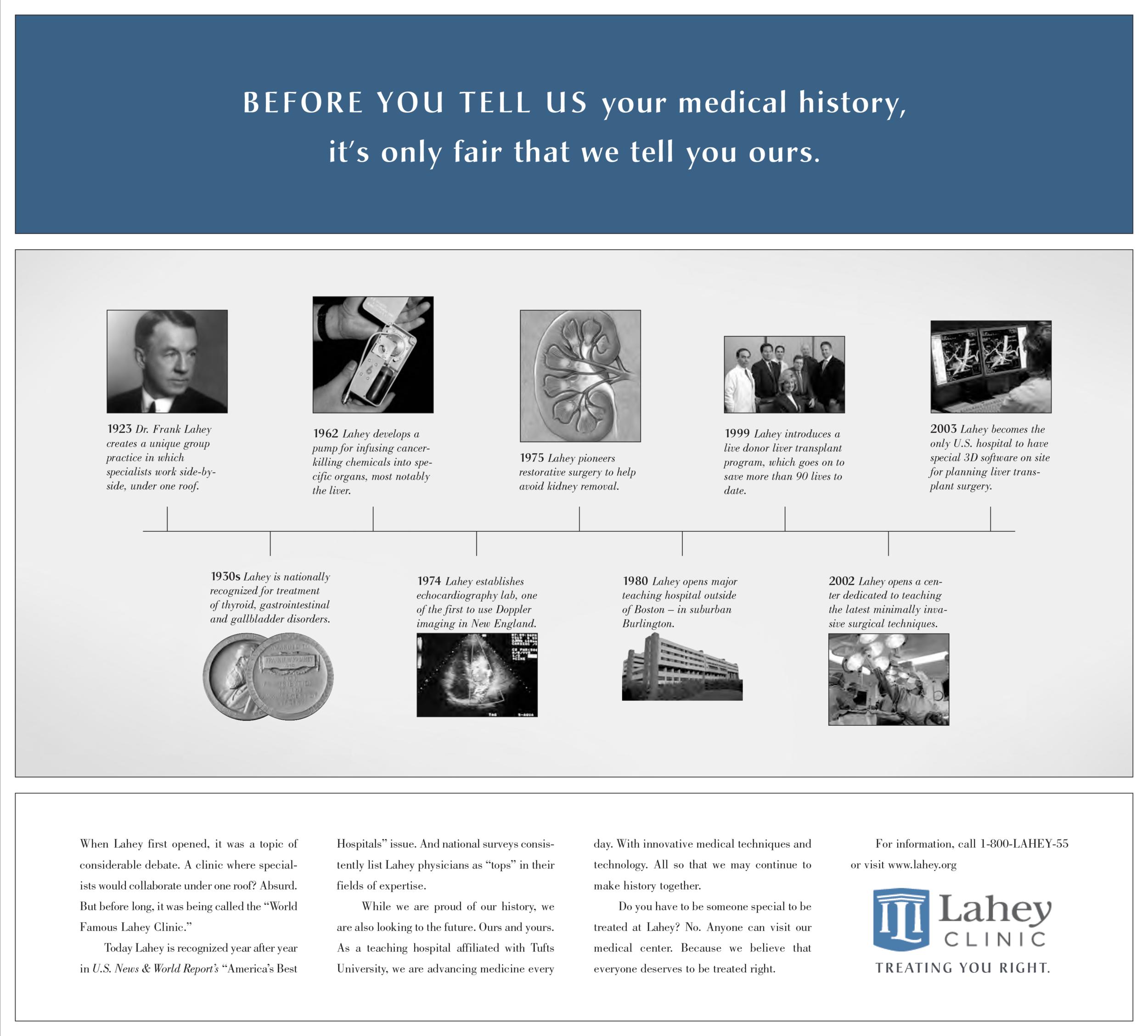 Lahey Bona Fide medical history timeline