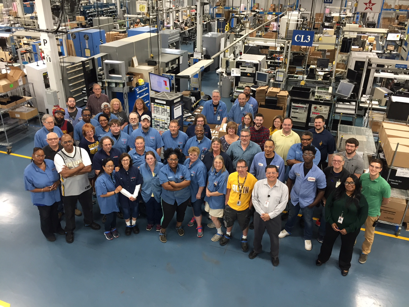 Rockwell Automation Materials Department, Production Department, and Supervisors celebrating a major milestone for their Controllogix Processor after producing their 2 millionth unit.