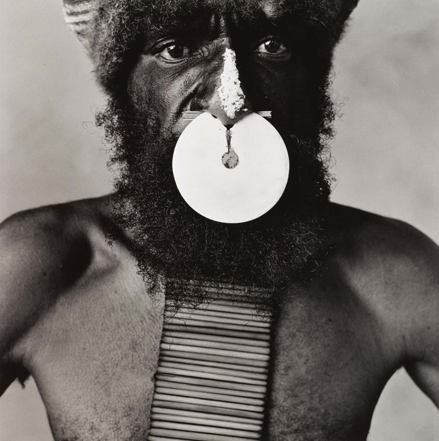 Tribesman with Nose Disc, New Guinea, 1970, © The Irving Penn Foundation