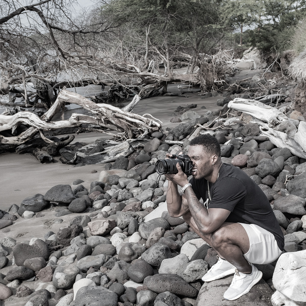 Brandin Cooks photographing between NFL seasons along the rugged coast of Maui, Hawaii.
