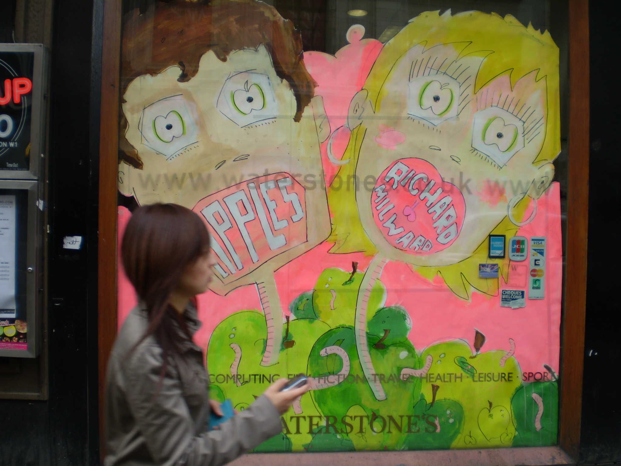 APPLES WINDOW DISPLAY, WATERSTONE'S OXFORD ST, LONDON, 2007