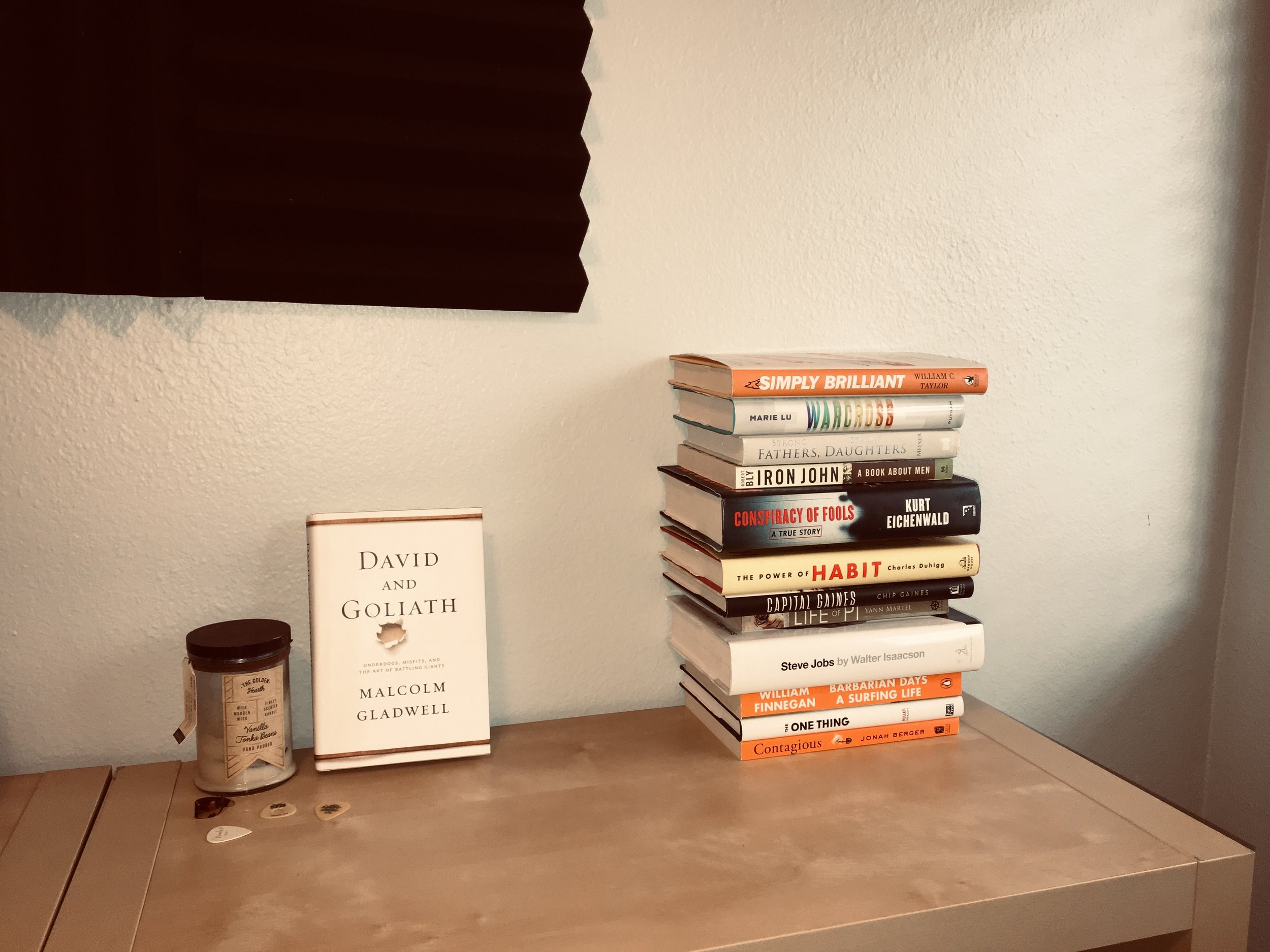 the 2018 stack, and David & Goliath by Malcolm Gladwell