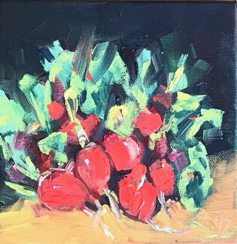 Radishes   Oil on Canvas   6 x 6
