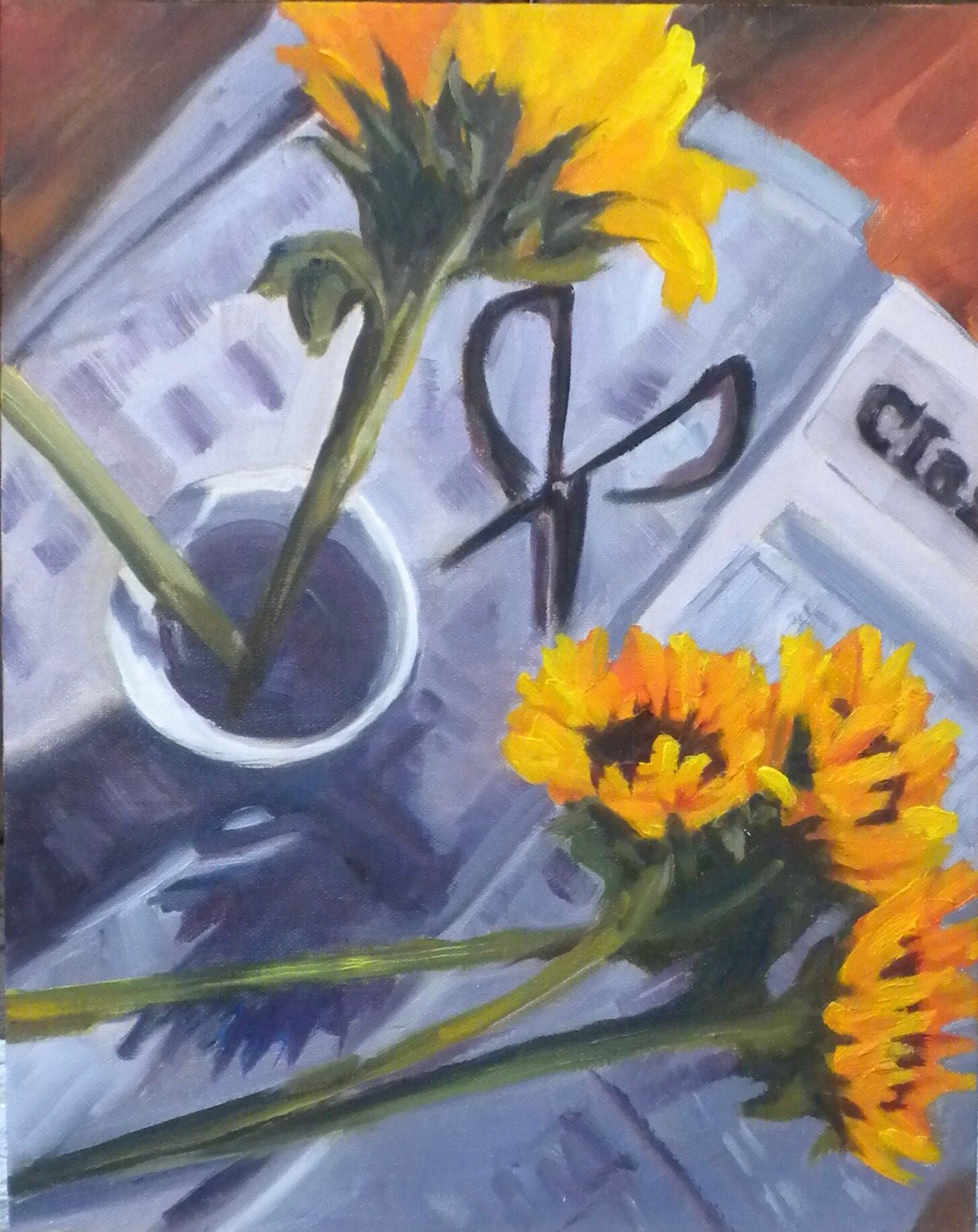 Sunflowers for Sale!   Oil on Board   8 x 10