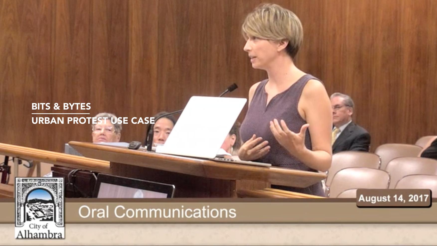 Presenting Virtual Protestors at the Alhambra City Council meeting -