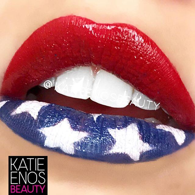 Happy 4th of July! Swipe left for American goodness! #wakeupandmakeup #imakeuplikethis #katieenosbeauty #4thofjuly