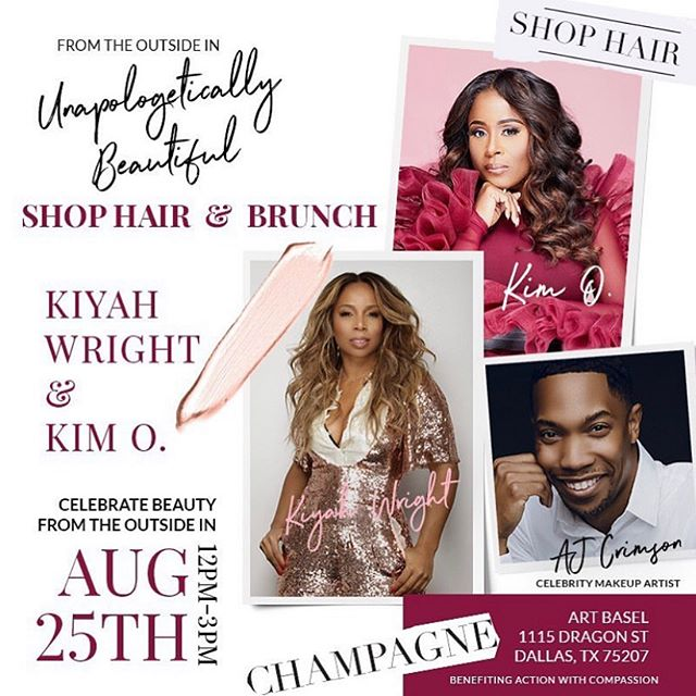 DALLAS!! I'm so excited to be apart of this amazing event with @kiyahwright1 @ajcrimson @kimolusanya. Y'all know I love my @ajcrimsonbeauty products. Come out August 25th!  _ @kiyahwright1 will be bringing her @muzehair to Dallas!!! Teaming up with the fabulous @kimolusanya for Sip, Shop, & Bruch on AUG.25. Sunday from 12-3:00pm. Yes, come play in makeup, hairpieces, Sip Champagne and Shop!! Stay Tuned! Add to your Calendar 🗓  _ #Dallas #AJCrimsonBeauty #MuzeHair