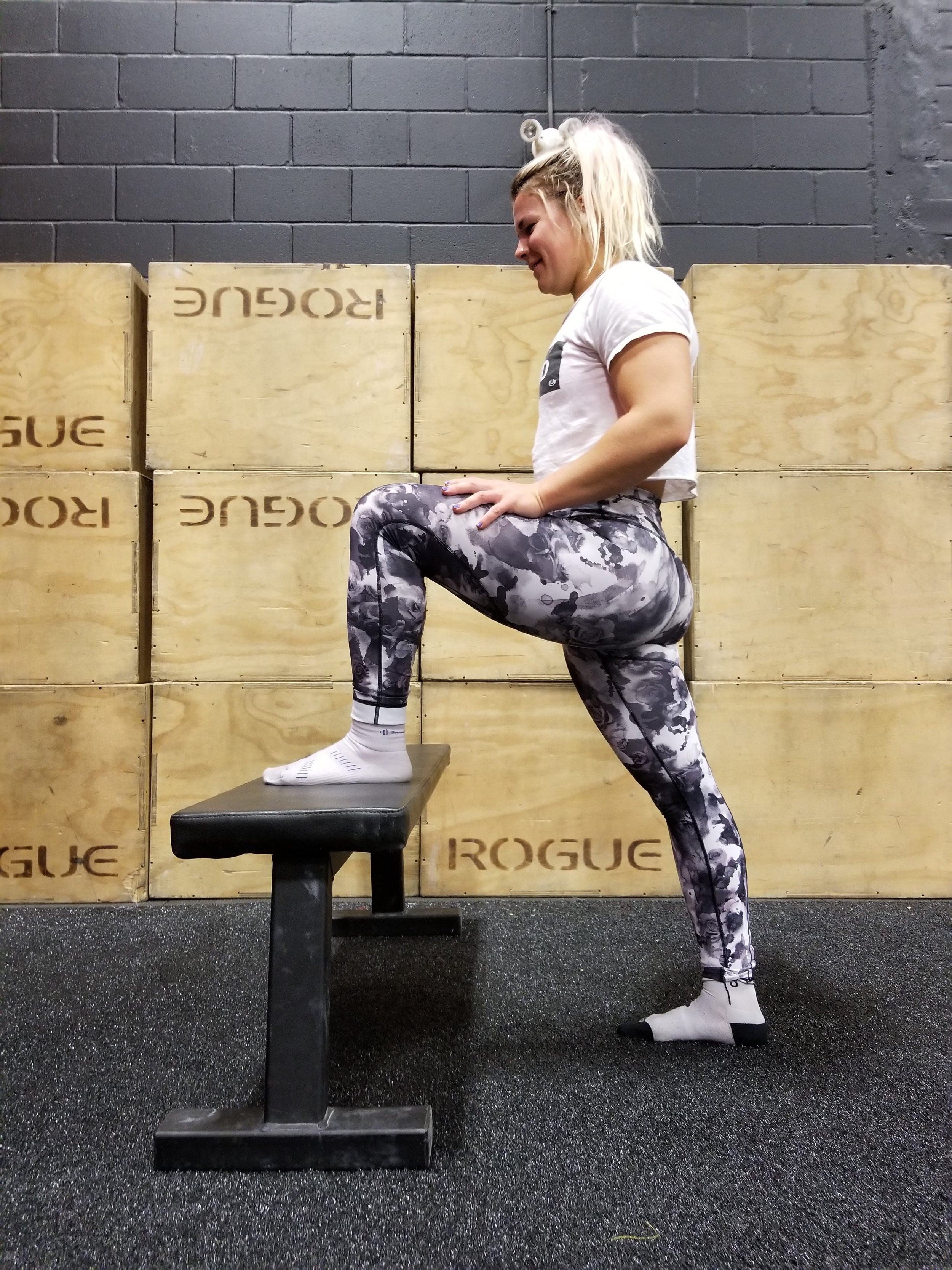 Place the foot of your affected side on a chair. Rock your hips forward and back into a lunge while keeping your body upright. Repeat this 15-20 times as a slow, rhythmical movement. -